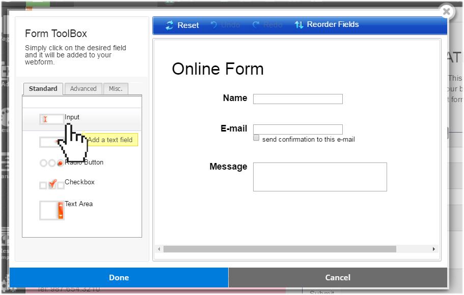 website.com contact form toolbox