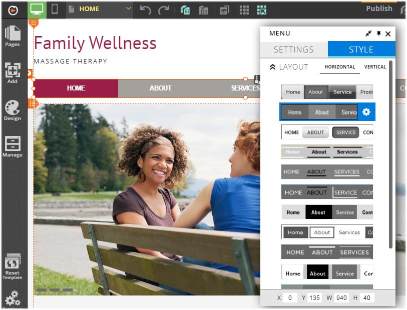 customizing website menu layout